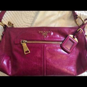 Prada pink leather shoulder bag
